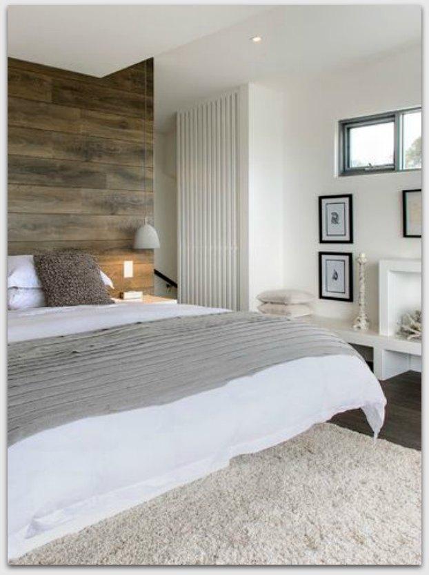 Wood look behind the bed