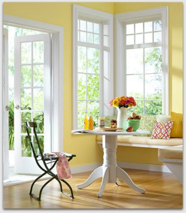 Pretty kitchen nook in yellow and white