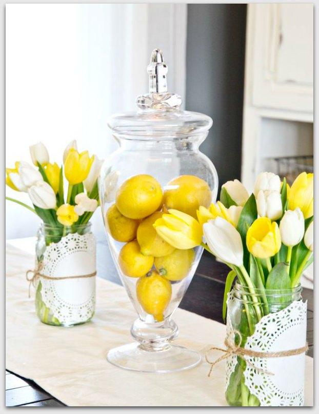 Lemons and yellow tulips