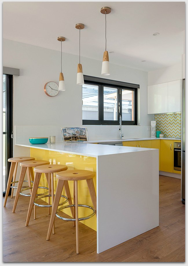 Yellow kitchen from different angle