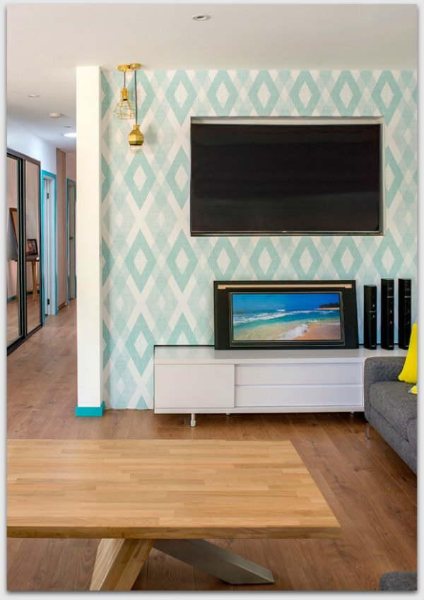 Feature wall in lounge room