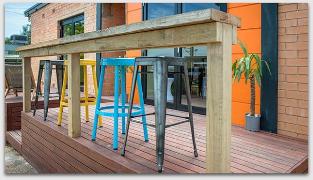 Deck with bar and coloured chairs