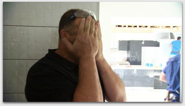 Steve covering his eyes