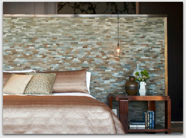 stone feature tiles as bedhead