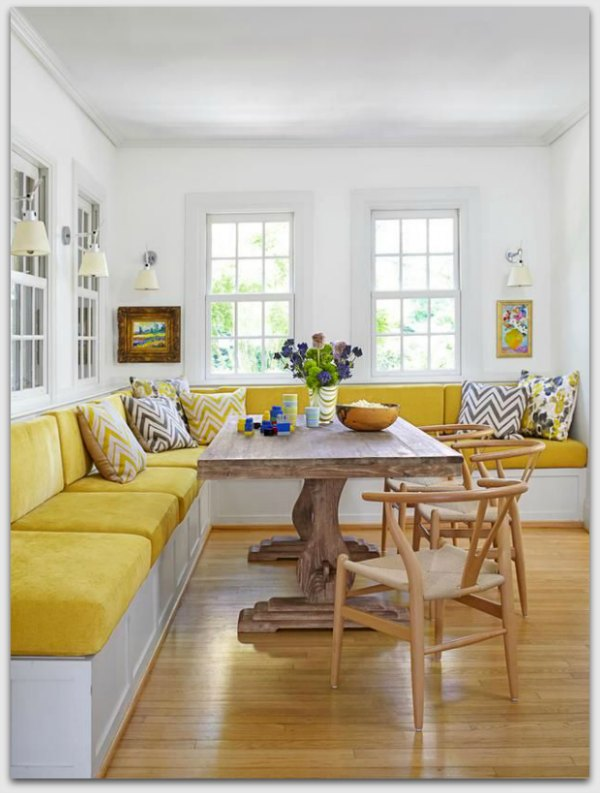 Yellow upholstery on chairs