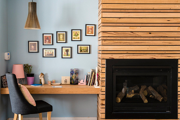Timber surround on fireplace