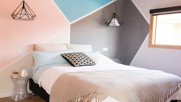 Geometric painted wall in pastel colours