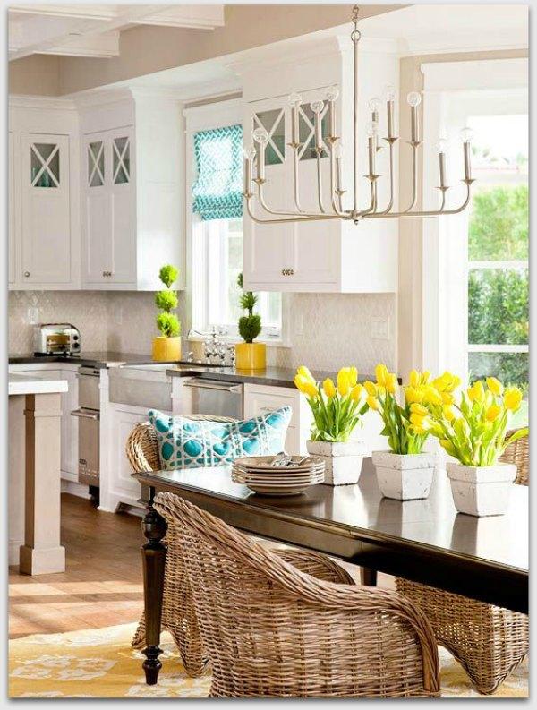 Yellow flowers - White Kitchen