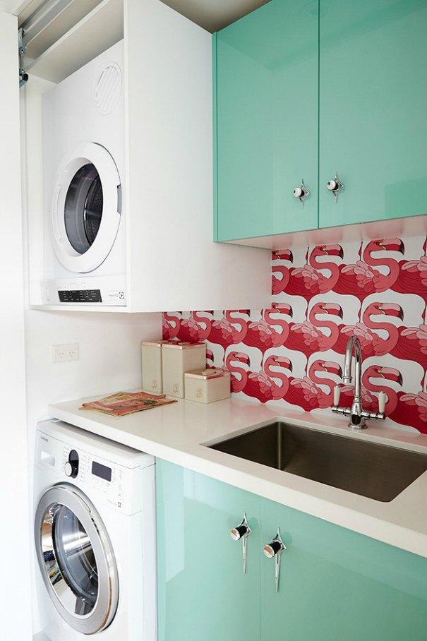 Flamingo splashback in the laundry