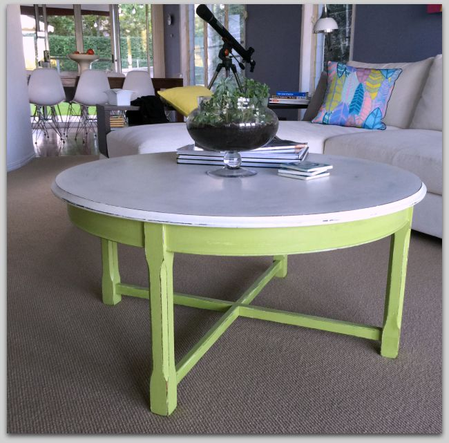 Green and white coffee table